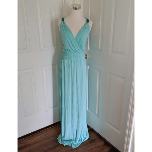 277fc041c0 Aqua Grecian maxi dress